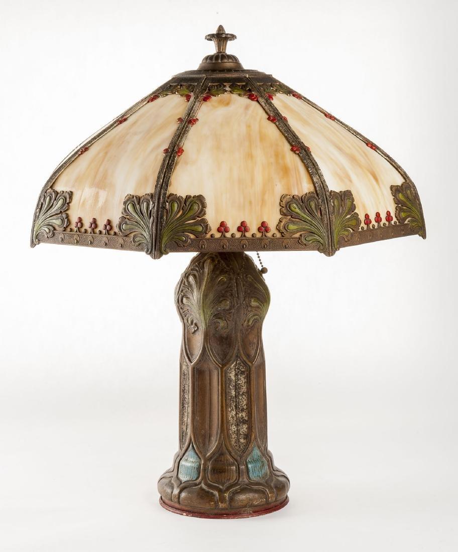 Slag Glass & Painted Metal Table Lamp