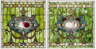 Pair of Antique Stained & Jeweled Glass Windows