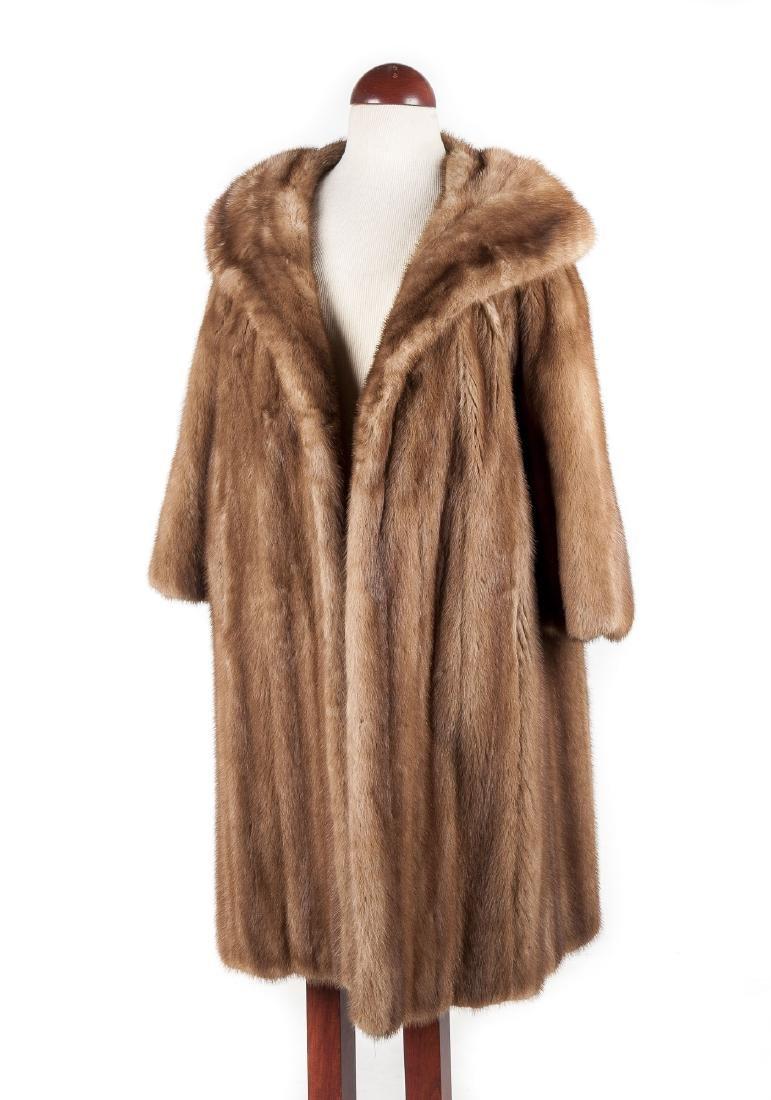 Muscalus 3/4 Sleeve Mink Fur Coat