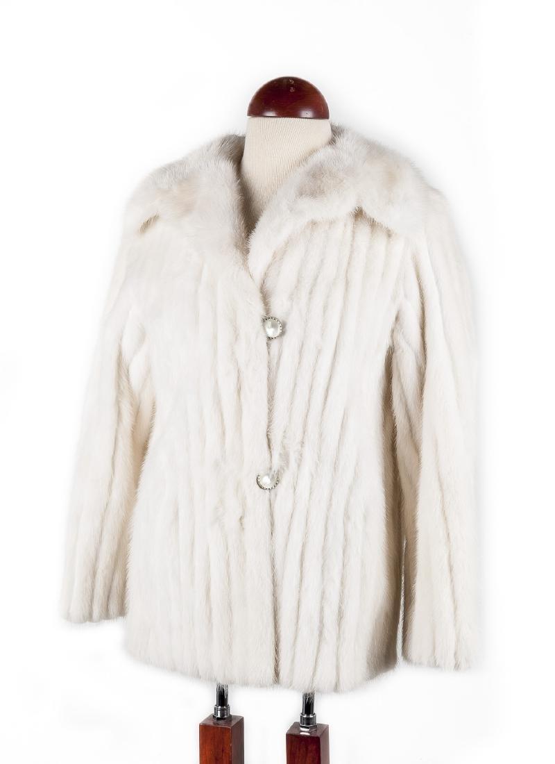 Women's White Mink Fur Coat by Bruno Furs