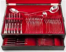 87 Pc Christofle America Silver Plate Flatware Set