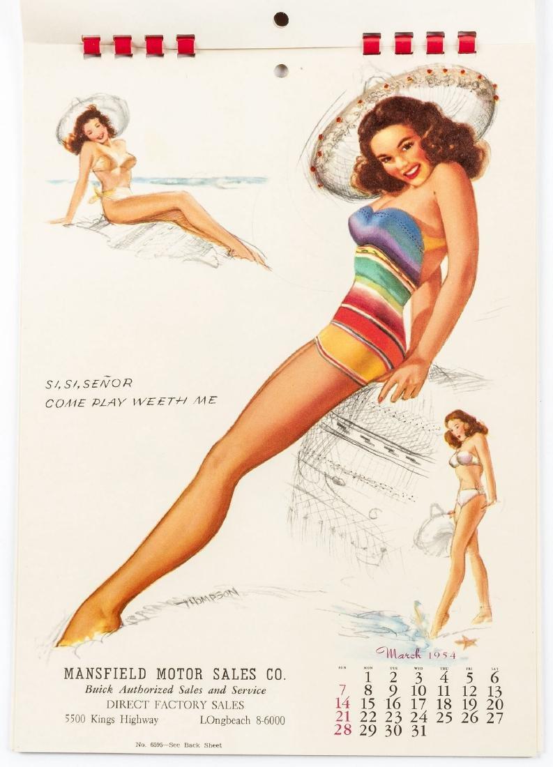 5 Vintage Saleman's Sample Pin-up Calendars - 10