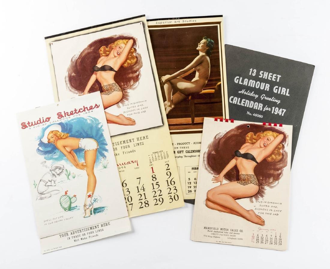5 Vintage Saleman's Sample Pin-up Calendars