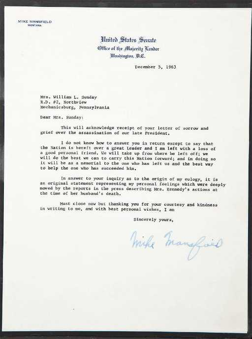 1963 sen mike mansfield signed letter eulogy mike mansfield signed letter eulogy thecheapjerseys Images