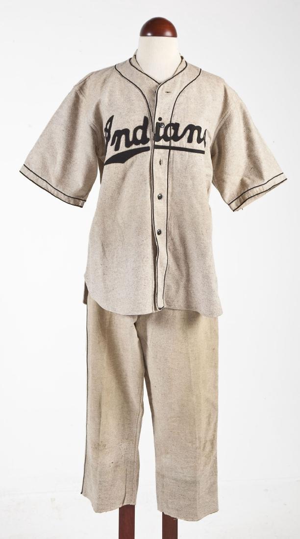 Vintage Indians Wool Baseball Uniform & Mitt
