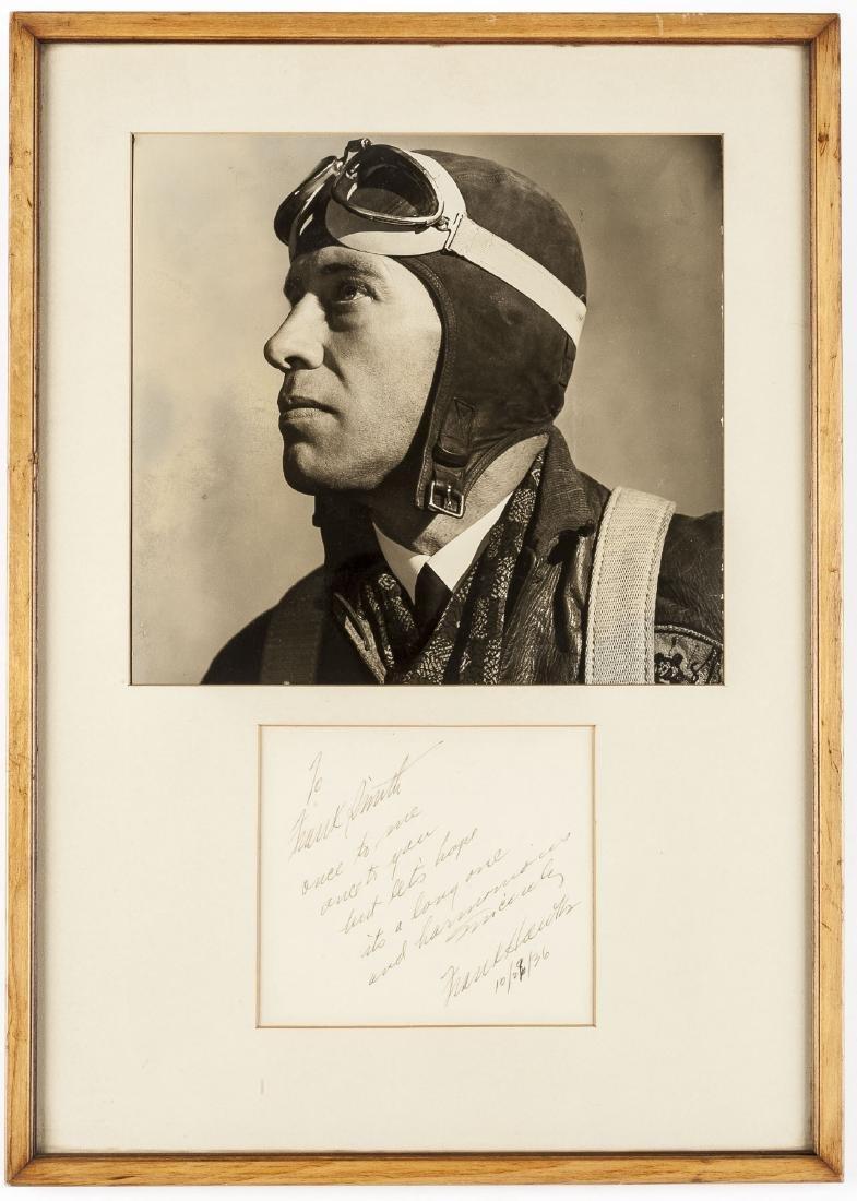 Frank Hawks Signed Card w/ Photograph