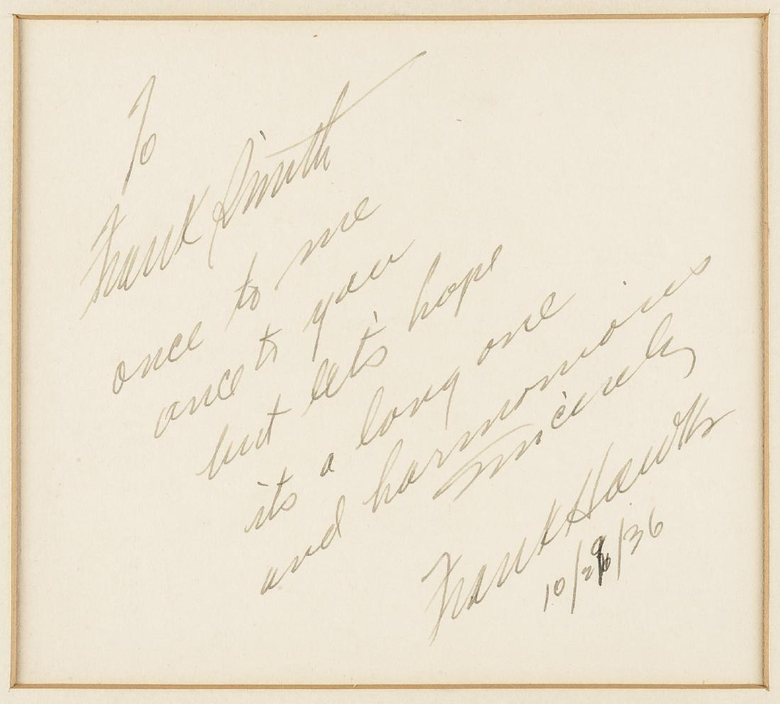 Frank Hawks Signed Card w/ Photograph - 3