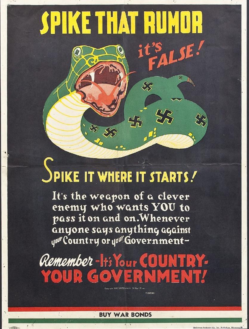 1942 War Bonds Poster Spike That Rumor