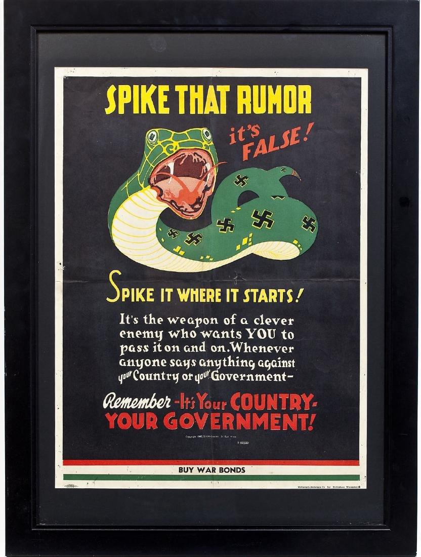 1942 War Bonds Poster Spike That Rumor - 6