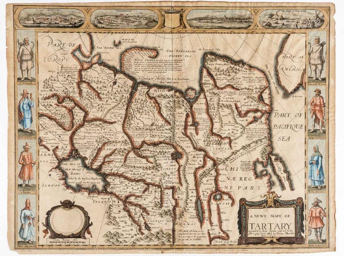 1626 John Speed Newe Mape of Tartary