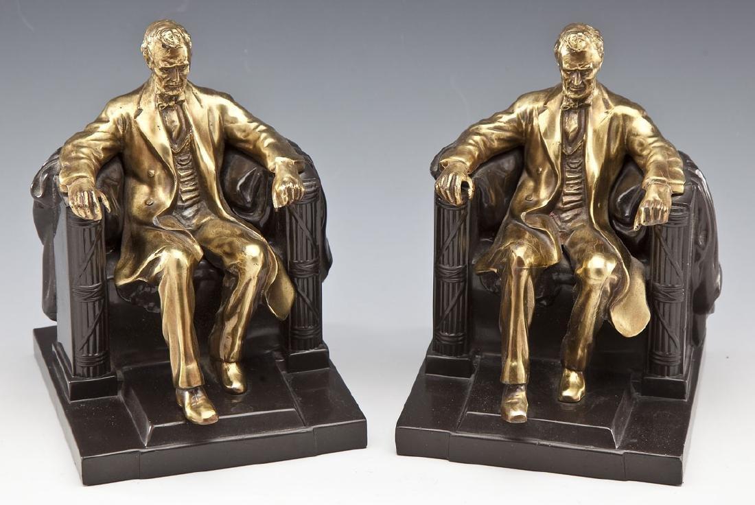 Pres. Lincoln Phila. Co. Brass & Bronze Bookends