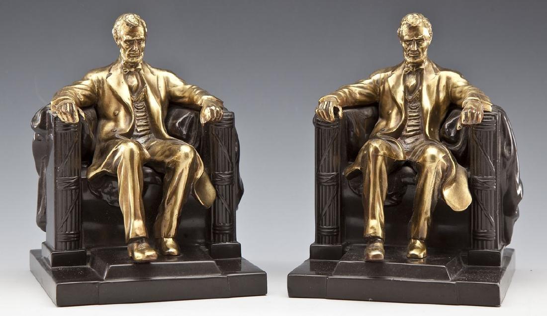 Pres. Lincoln Phila. Co. Brass & Bronze Bookends - 4