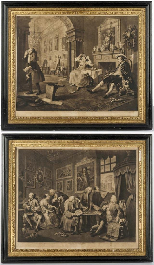 2 William Hogarth Marriage A La Mode Mezzotints
