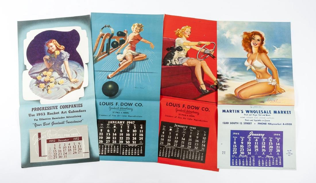 25 Vintage Pin-up Calendars Incl Samples - 6