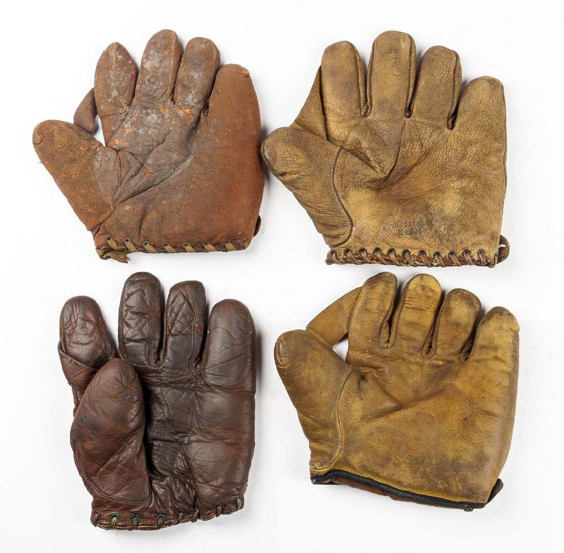 4 1910s Web Baseball Gloves incl Charlie Root