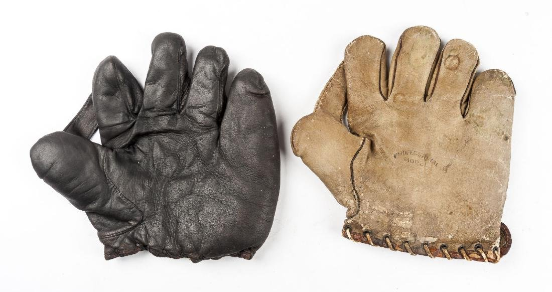 "2 1910s & 1920s 1"" Web Baseball Gloves"