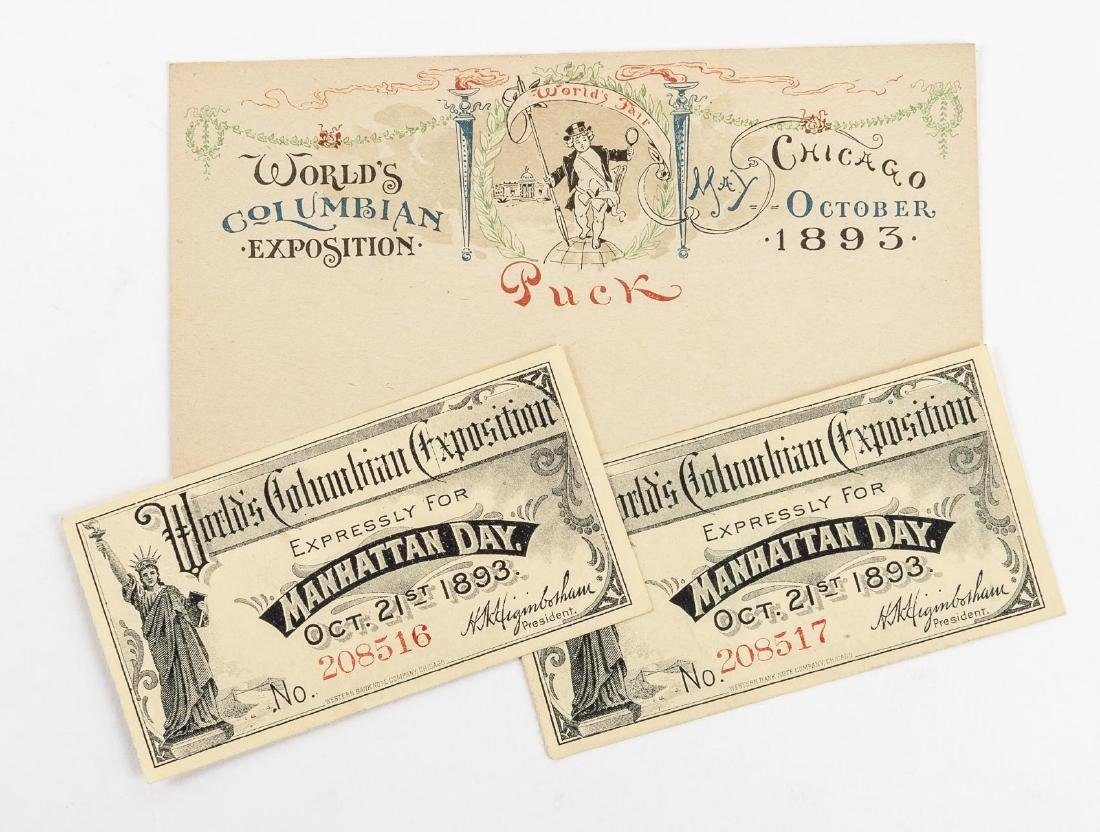 Columbian Exposition Puck Postcard & Tickets
