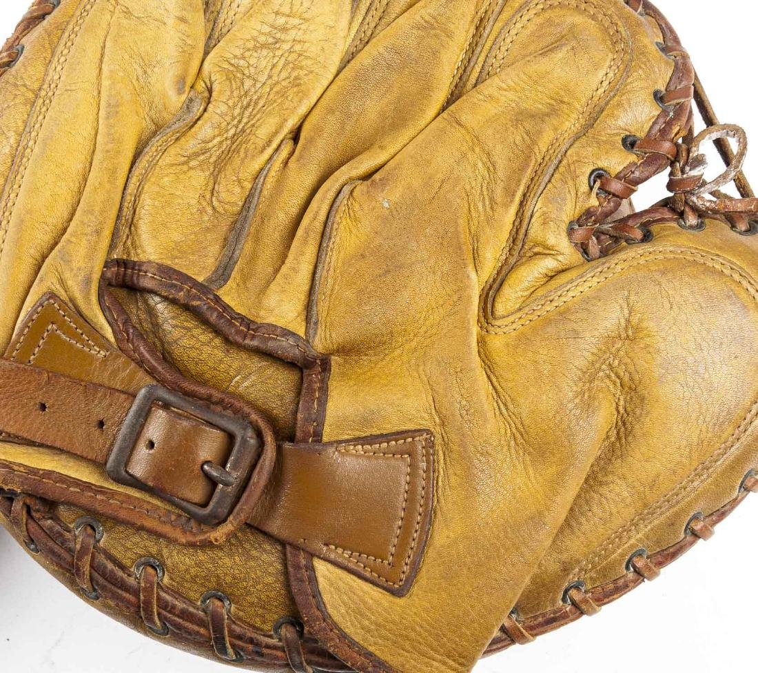 3 1920's Buckle Back Catcher's Mitts incl Reach - 6