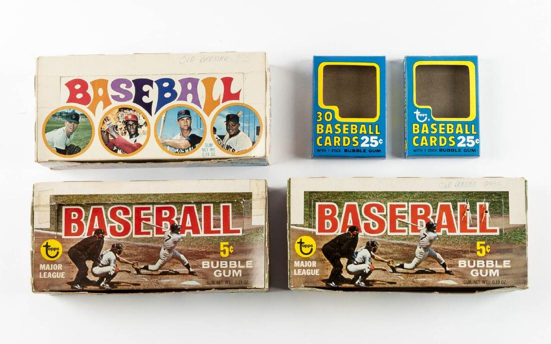 5 Topps Baseball Empty Boxes from 1968-1971
