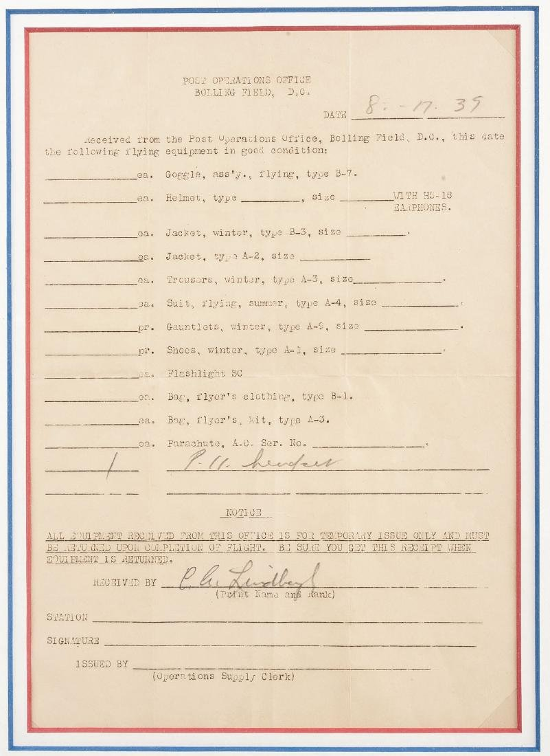 Charles Lindbergh Signed Flying Equipment Receipt