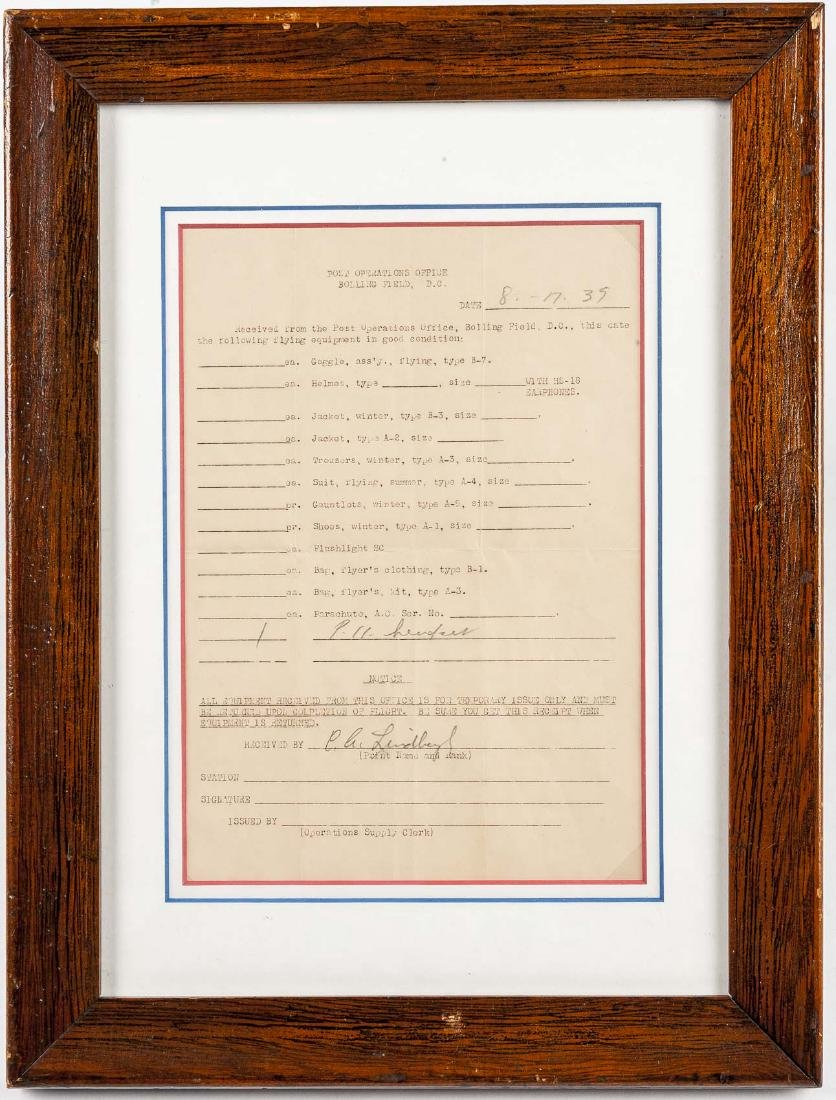 Charles Lindbergh Signed Flying Equipment Receipt - 3