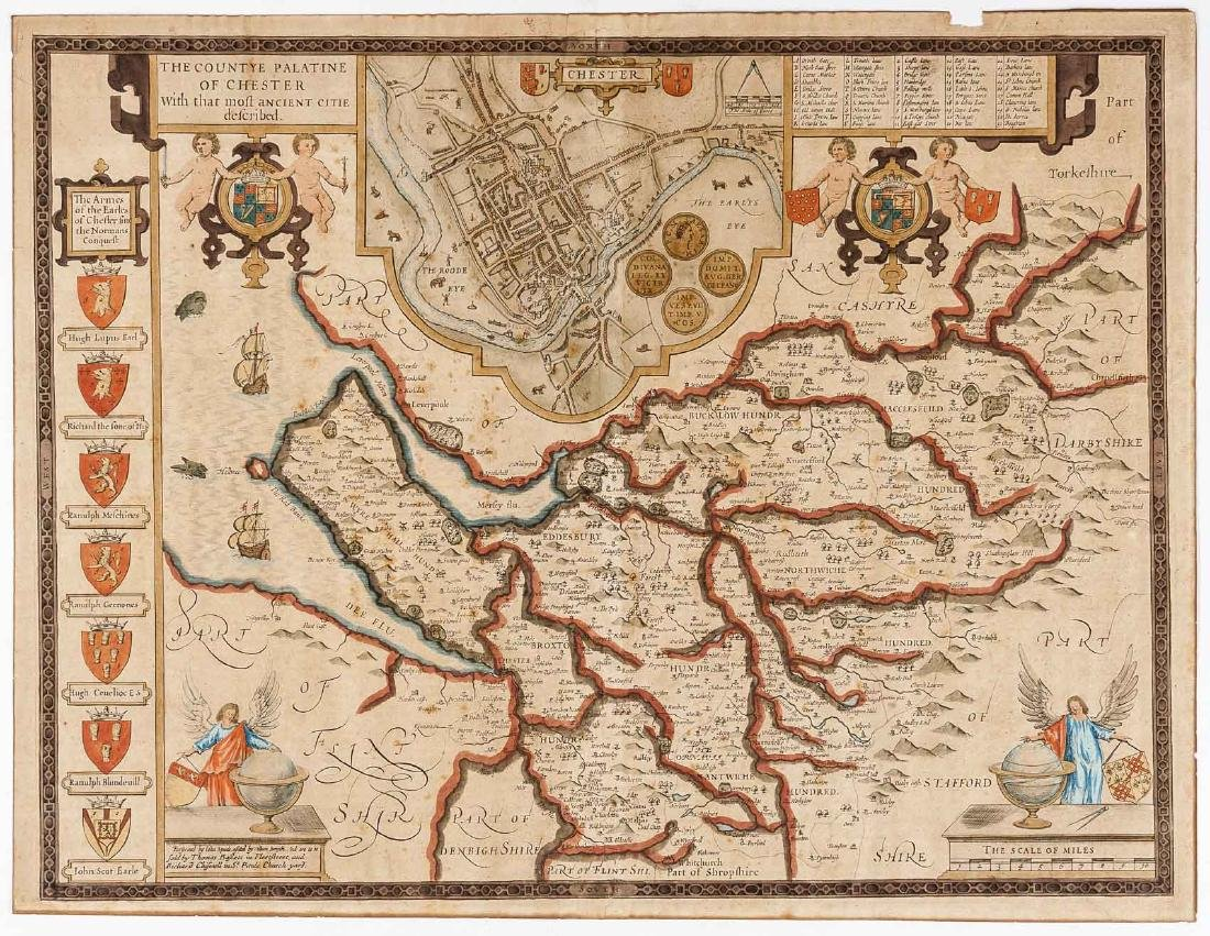 1676 John Speed Countye Palatine of Chester Map