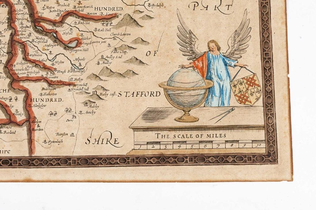 1676 John Speed Countye Palatine of Chester Map - 3