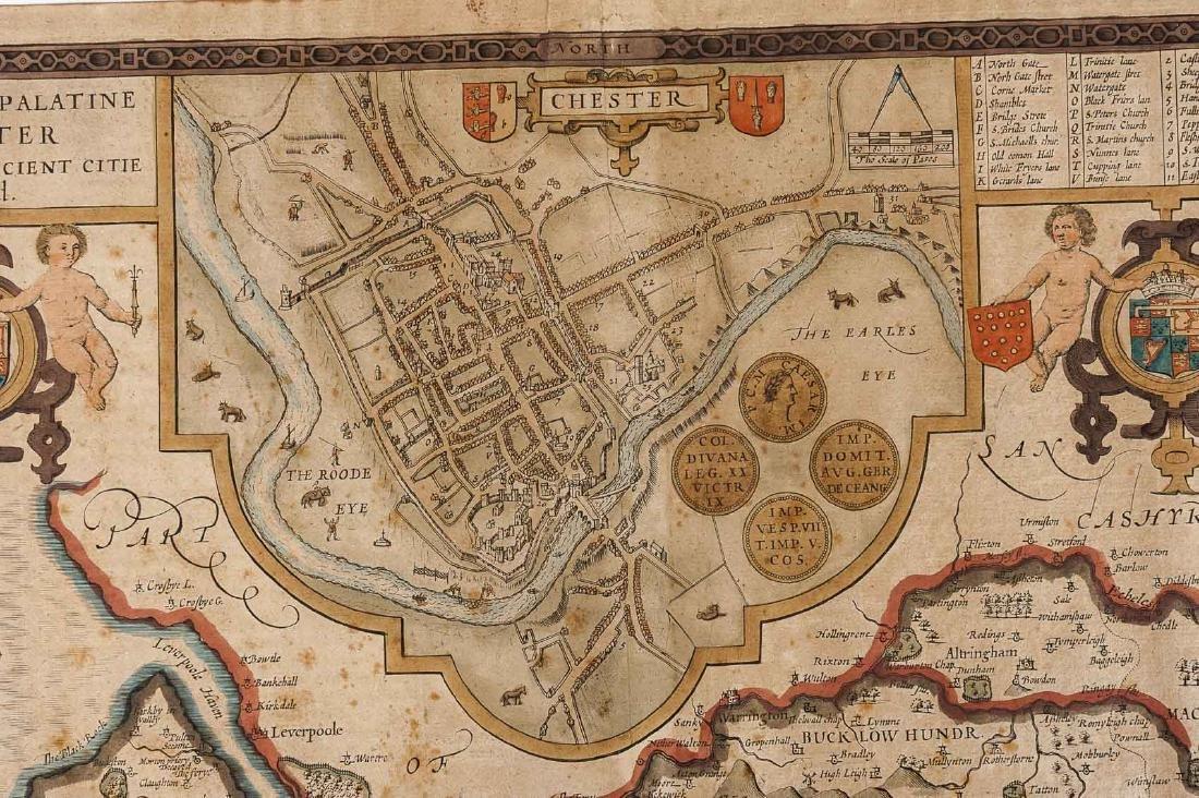 1676 John Speed Countye Palatine of Chester Map - 4