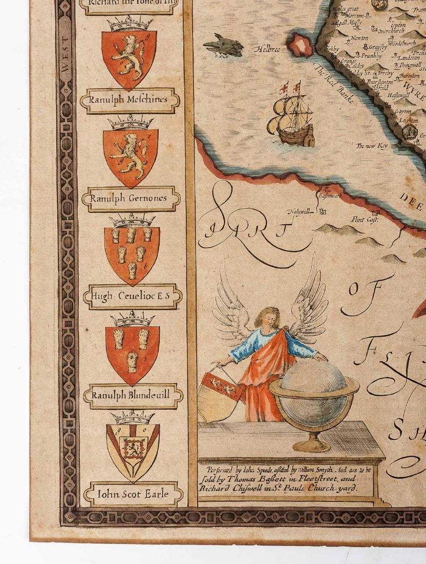 1676 John Speed Countye Palatine of Chester Map - 5