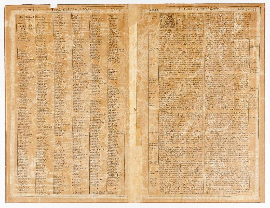 1676 John Speed Countye Palatine of Chester Map - 6