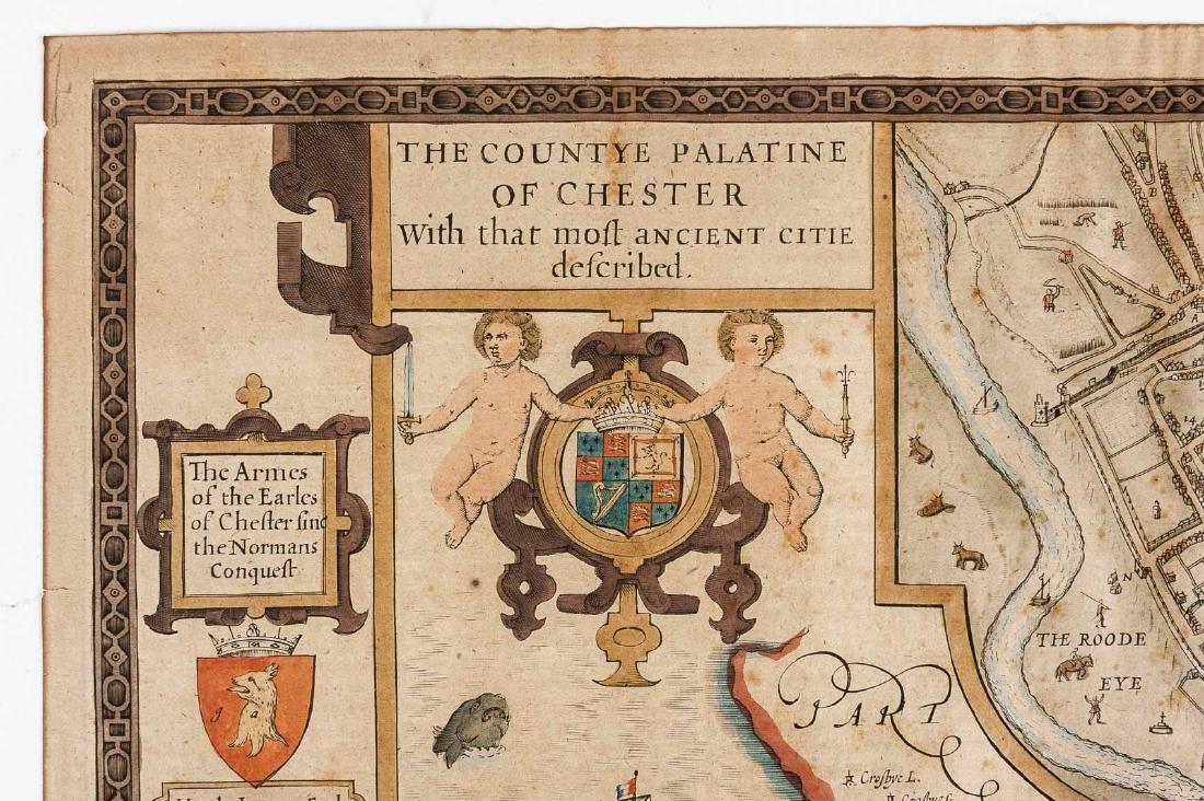 1676 John Speed Countye Palatine of Chester Map - 7