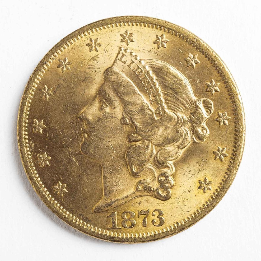 1873 Open 3 $20 Liberty Head Gold Coin