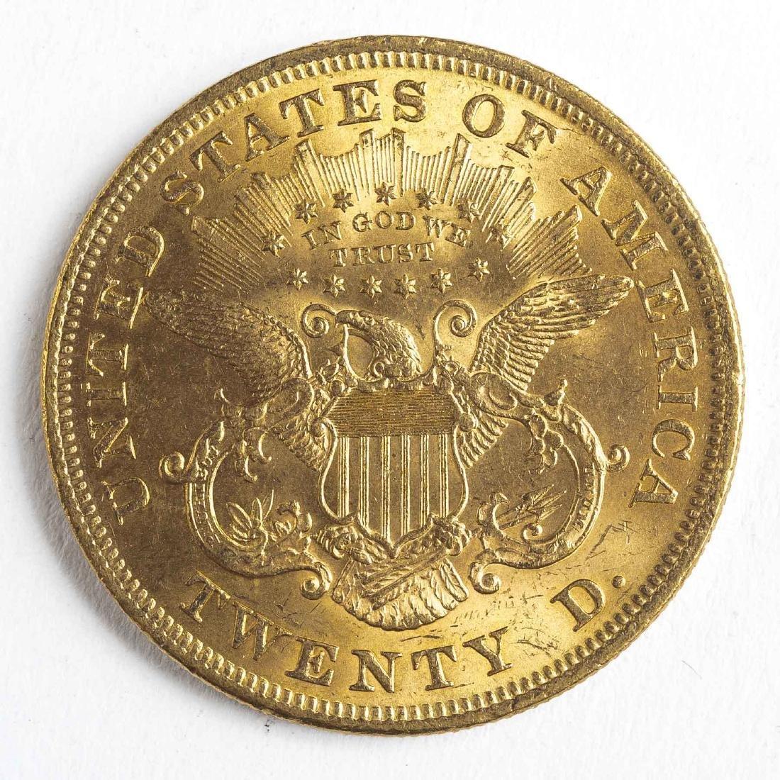 1873 Open 3 $20 Liberty Head Gold Coin - 2