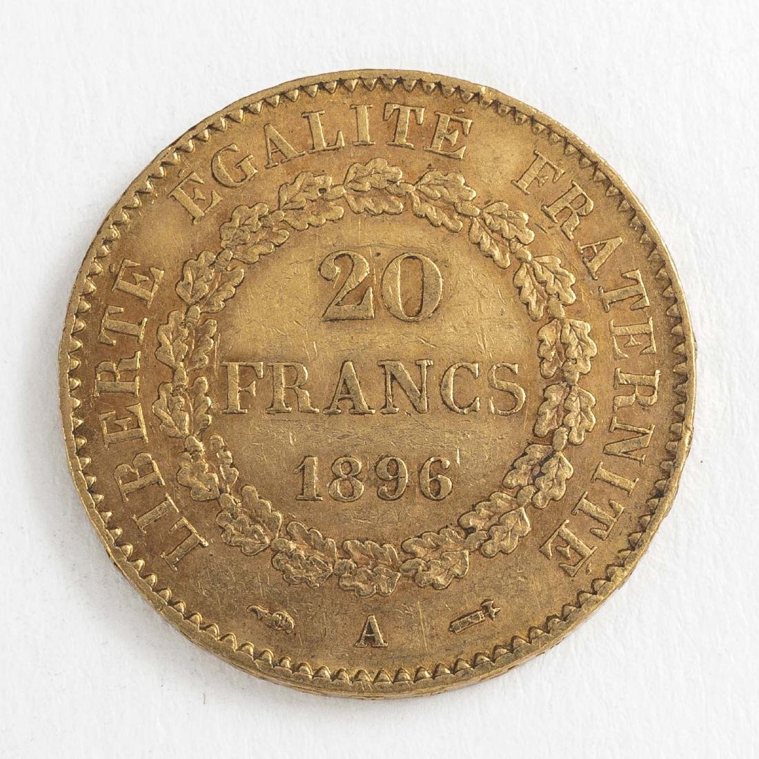 1896 20 Francs Gold Coin - 2