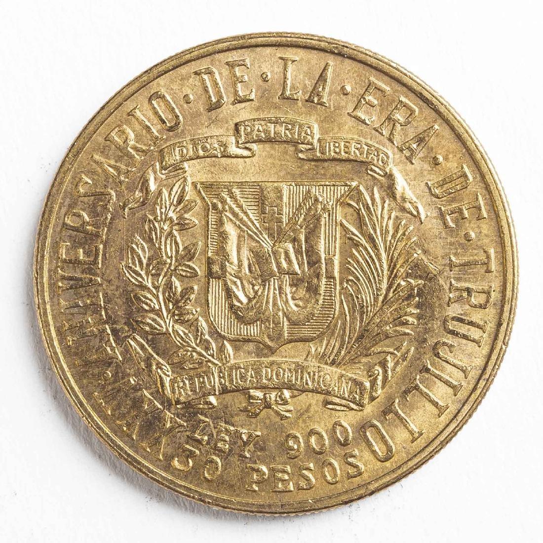 1955 30 Pesos Dominican Gold Coin - 2