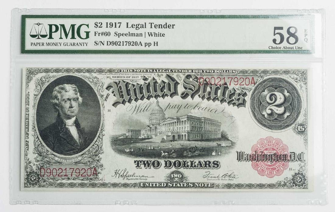 1917 $2 Legal Tender Fr. 60 PMG CAU