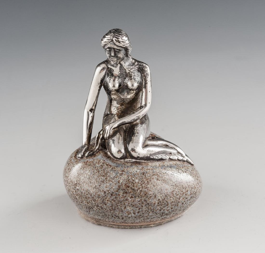 Bernard Hertz Miniature Sterling Mermaid on Rock