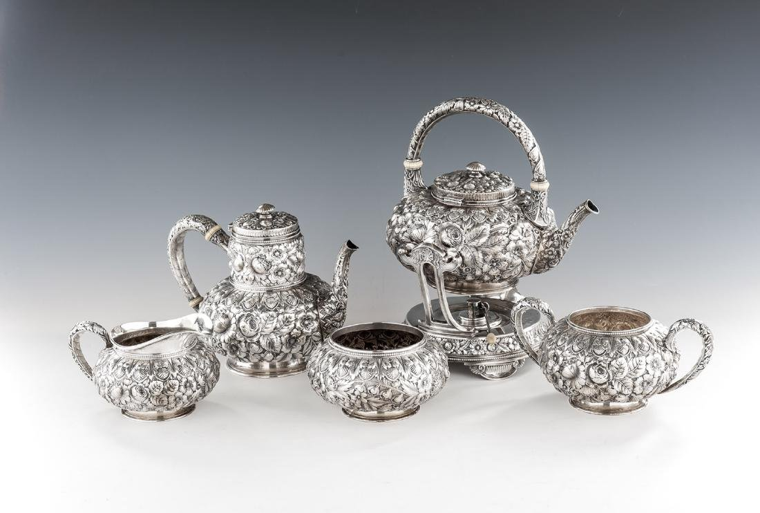 5 Pc Gorham Repousse Sterling Tea Set