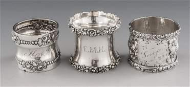 3 Sterling Napkin Rings Incl Gorham