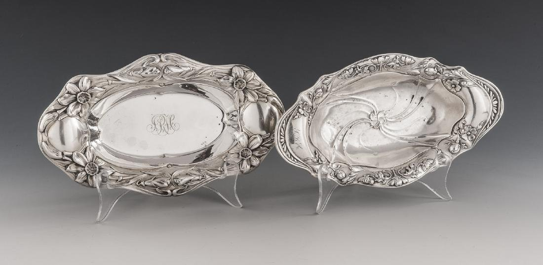 2 Small Gorham Art Nouveau Sterling Trays