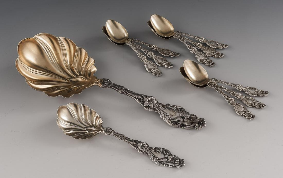 10 Whiting Sterling Lily Spoons Incl Demitasse