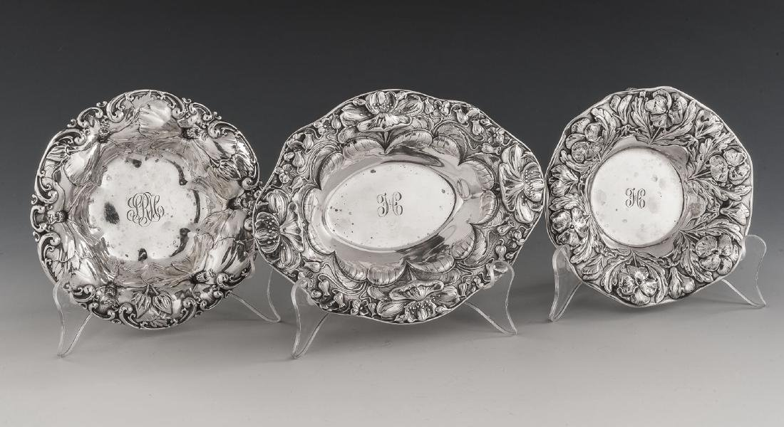 3 Sterling Repousse Dishes Incl Gorham
