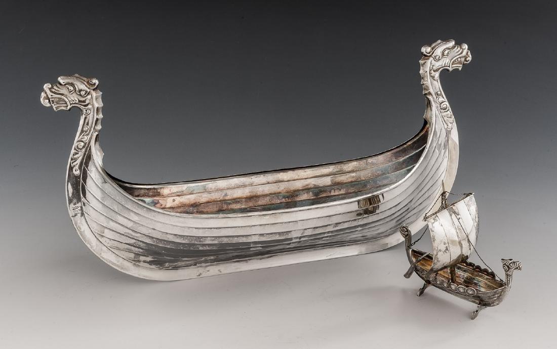 2 Silverplated Viking Longship Models Incl Astral