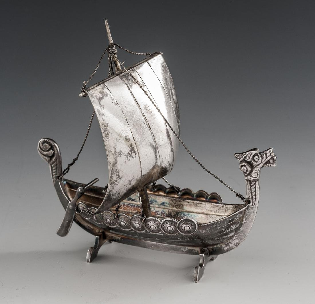 2 Silverplated Viking Longship Models Incl Astral - 2