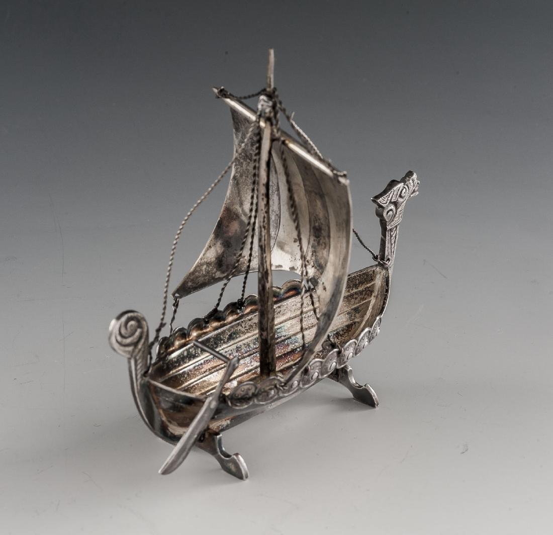 2 Silverplated Viking Longship Models Incl Astral - 3