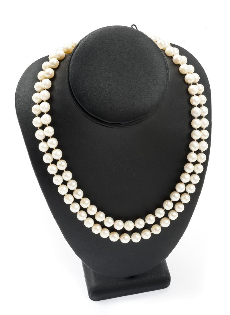Double Strand Pearl Necklace with Diamond Clasp