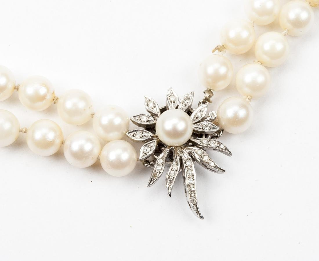 Double Strand Pearl Necklace with Diamond Clasp - 2