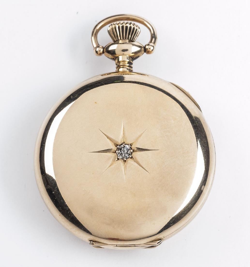 Lady's 14K Illinois 17J Pendant Watch with Diamond