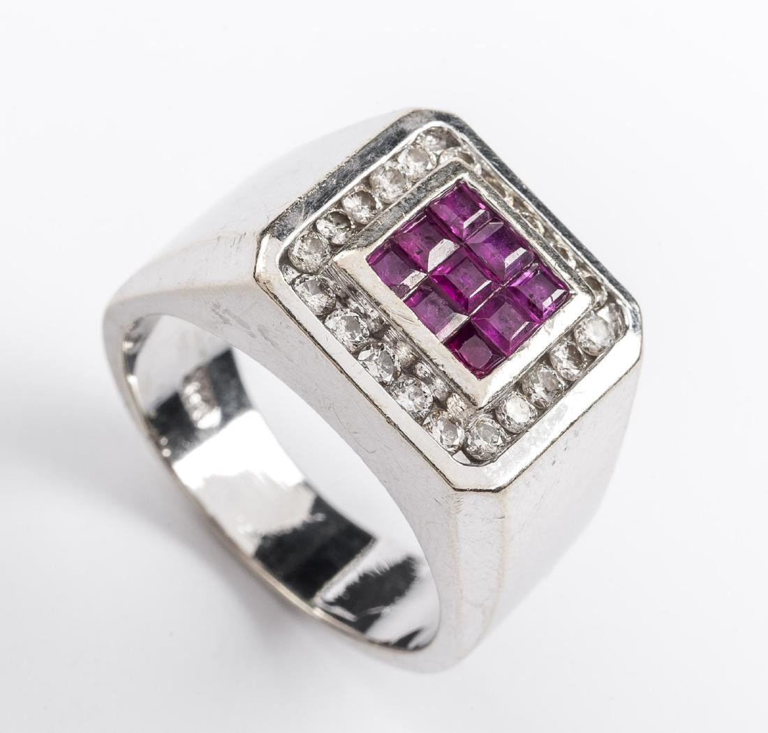 14K Man's Ruby & .60 CTW Diamond Ring
