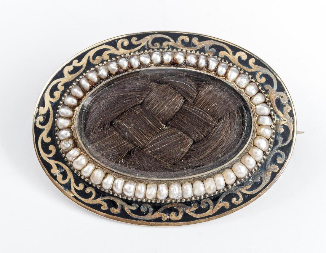 Victorian Woven Hair Mourning Brooch